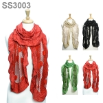 SS3003 RUFFLE AND LACE JERSEY SCARF