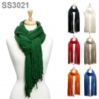 SS3021 SOLID TASSLE SCARF