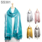 SS381 LT.WEIGHT SILVER LINED SCARF
