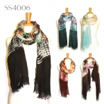 SS4006 Bordered Tie-Dye Scarf