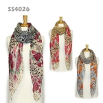 SS4026 BRIGHT ROSE & ANIMAL PRINT SCARF