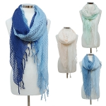SSY7100 Check Patterned Sheer Gradient Ombre Scarf with Tassel