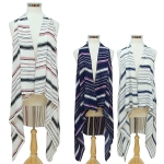 SVY7057 Multi Stripe Georgette Long Vest