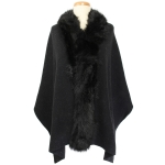 TX102 Solid Color Faux Fur Border Shawl & Scarf, Black