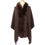 TX102 Solid Color Faux Fur Border Shawl & Scarf, Brown