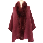 TX102 Solid Color Faux Fur Border Shawl & Scarf, Burgundy