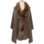TX102 Solid Color Faux Fur Border Shawl & Scarf, Camel