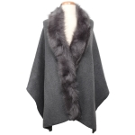 TX102 Solid Color Faux Fur Border Shawl & Scarf, Grey