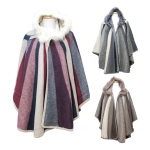 TX109 Colorful Round Poncho With Faux Fur Collar W/Hoodie