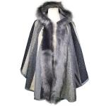 TX110 Tri-Color Faux Fur Poncho W/ Hoodie, Black