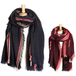YC074 Stripes Over Sized Blanket Scarf