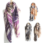 YC089 TWO TONE TIDE PRINT SCARF