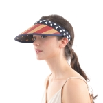 CH0606 American Flag Pattern Sun Visor, Natural