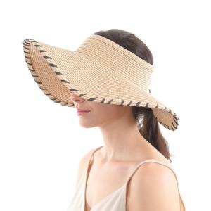 CH0604 Straw Roll Up Visor Hat w/Black Edge