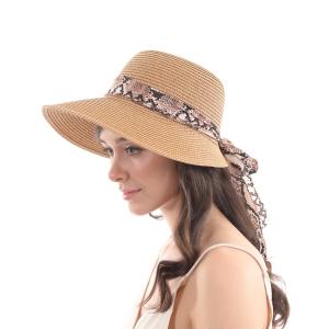 CH0603 Straw Hat w/Python Pattern Scarf Edge