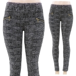 AL14227 stretchable Check Leggings w/gold side ziper
