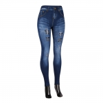 AO1072 RIPPED FAUX DENIM LEGGINGS