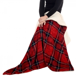 B-01 Plaid Sherpa Fleece Throw Blanket