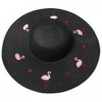 CH8453 Flamingo Straw Hat, Black