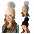 CH6405 Detachable  Two-Tone Fur Pom Pom Beanie