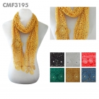 CMF3195 Wide Netting Lace & Flower Accent Scarf