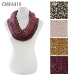 CMF4315 Thick infinity scarf with glitter detail