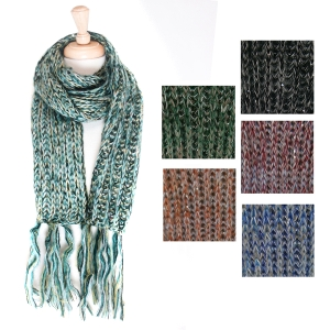CMF5007 Sparkle Cable Knit Scarf w/Fringe