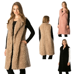 CP7525 Shaggy Faux Fur Long Vest