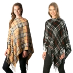 CP7507 Plaid Pattern Poncho