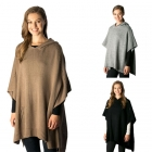 CP7518 Solid Knitted Hooded Poncho
