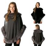 CP7529 Faux Fur Trimmed Velvet Poncho