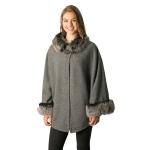 CP7531 Faux Fur Cape Shawl W/ Hook Closure