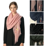 CS6101 FLOWER EMBROIDERY SQUARE SCARF
