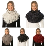 CS7243 Multi Colored Knitted Infinity Scarf W/Fringe