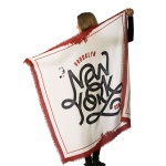 CS7245 New York Lettering Print Square Scarf