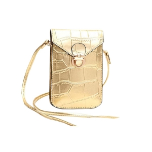 FB010 Faux Leather Small Cross-body Bag, Gold