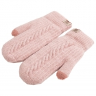 FG009 Solid Lined Mitten Touchscreen Gloves - Pink