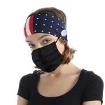 FH045 American Flag Print w/mask Ear-hook Headband