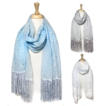 JC311 Floral Printed Scarf With Fringe