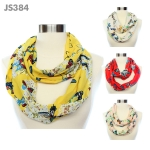 JS384 Butterfly Print Infinity Scarf