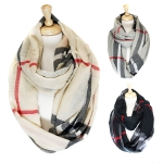 JS524 CLASSICAL PATTERNED PLAID INFINITY SCARF