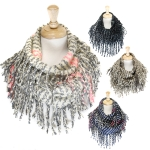 JS805 Fringed Thick Winter Infinity Scarf