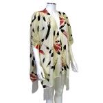 JV0006 WT Bottom Pattern Tassel Kimono Poncho