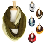 KA218 Two Tone Pleated Infinity Scarf