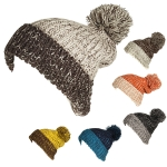 KA247 Two Tone Pom Pom Hat