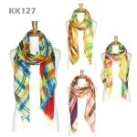KK127 Print Color Accent Scarf
