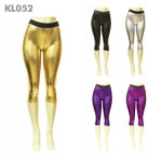 KL052 Metallic Foil Capri Leggings