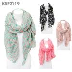 KSF2119 Dotted contrast crinkle scarf