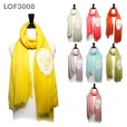 LOF3008 Embroidered Skull Soft Feel Scarf