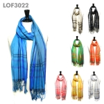 LOF3022 Plaid Stripe Print Scarf